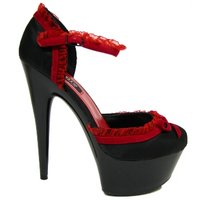 View Item BLACK RED SATIN PLATFORM DANCER SANDALS SHOES